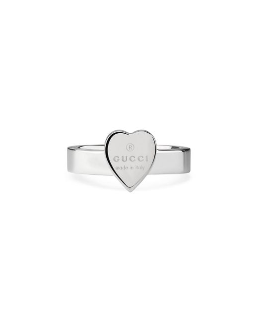 Gucci Metallic Heart Ring With Trademark