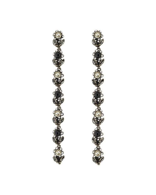 Gucci | Metallic Daisy Earrings With Crystals And Pearls | Lyst