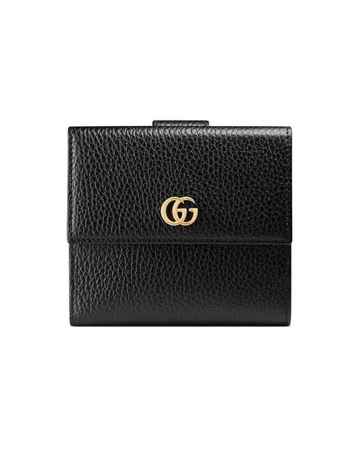 Gucci | Black Leather French Flap Wallet | Lyst