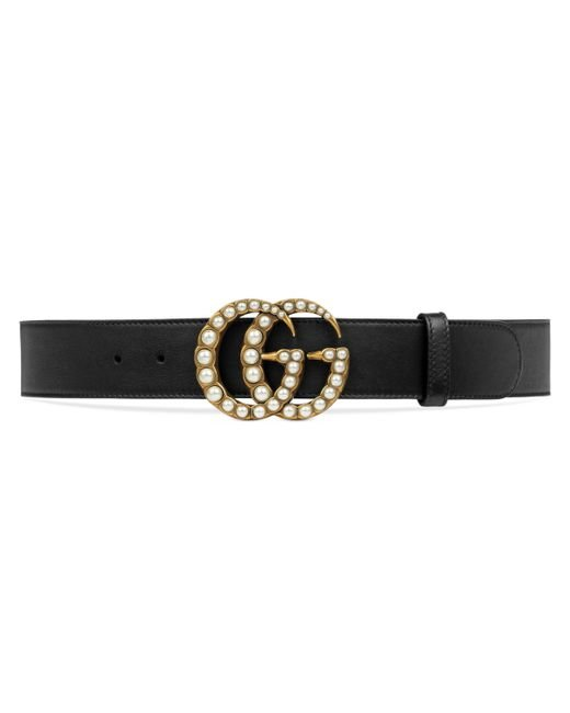 Gucci - Black Leather Belt With Pearl Double G - Lyst