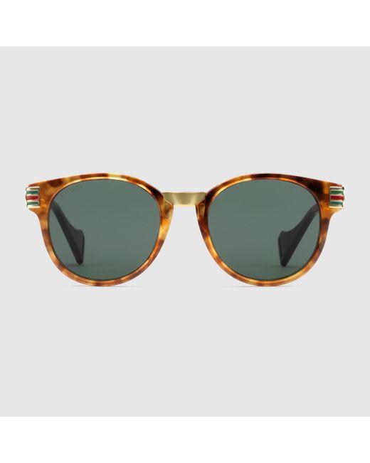 メンズ Gucci グッチオンライン限定 ラウンド アセテート&メタル サングラス Multicolor