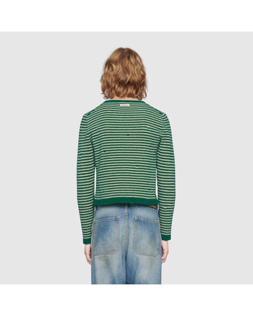 メンズ Gucci グッチストライプ ウール クロップドセーター Green