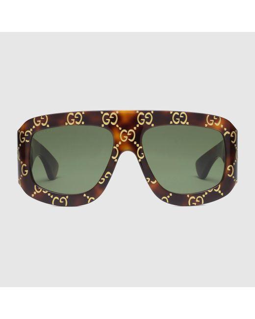 Gucci 【公式】 (グッチ)GG スクエアフレーム サングラストータスシェル アセテートブラウン Multicolor