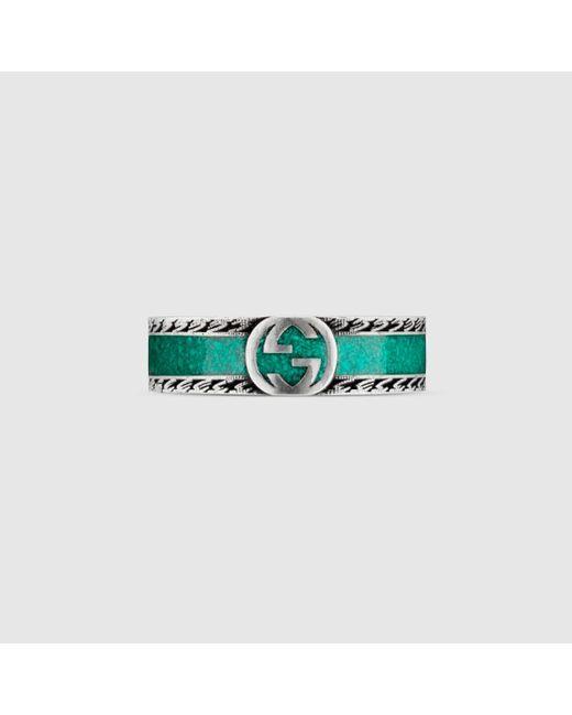 メンズ Gucci グッチ公式インターロッキングg リングターコイズ エナメル&シルバーcolor_descriptionシルバー Green