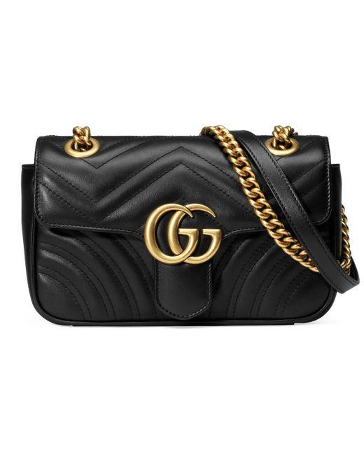 b16d71f9a95 Lyst - Gucci Gg Marmont Matelassã© Mini Bag in Black - Save 36%