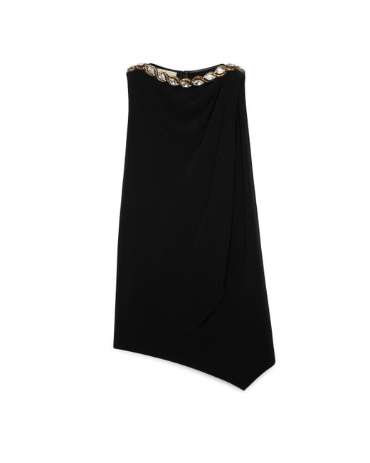 Gucci Black Crystal Embroidered Jersey Dress
