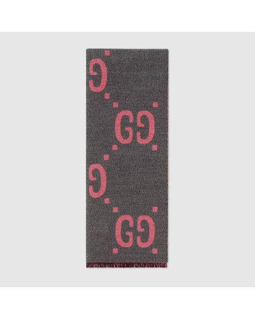 Gucci グッチGGジャカード ウールシルク スカーフ Multicolor