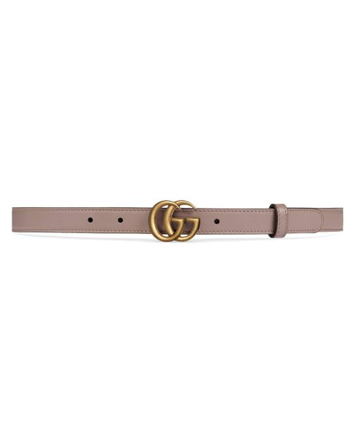 Gucci Pink Leather Belt With Double G Buckle