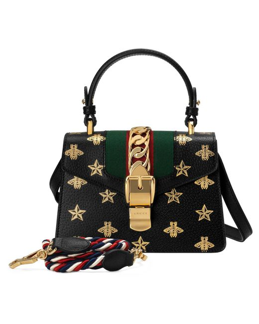 1a21bace1a3 ... Gucci - Black Sylvie Small Bee-print Leather Top-handle Satchel Bag -  Lyst ...