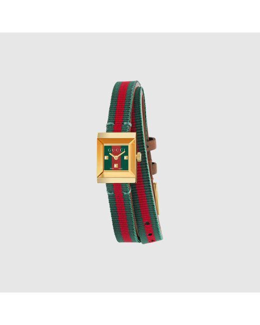 メンズ Gucci グッチ〔g-フレーム〕スモールウォッチ(14x18mm) Multicolor