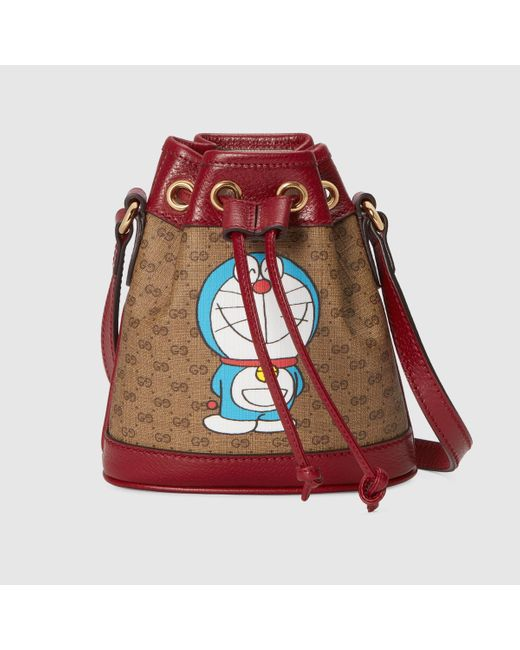 Gucci 【公式】 (グッチ)ドラえもん X ミニ バケットバッグ Detail 2ミニGGキャンバスベージュ Red