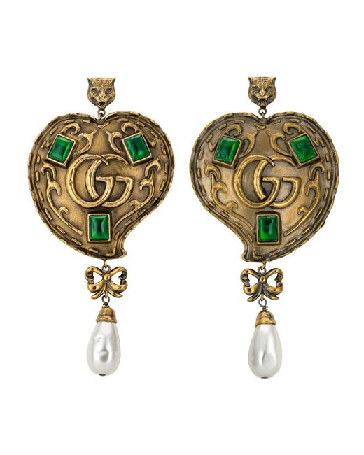 Gucci | Metallic Heart Earrings With Pearls | Lyst