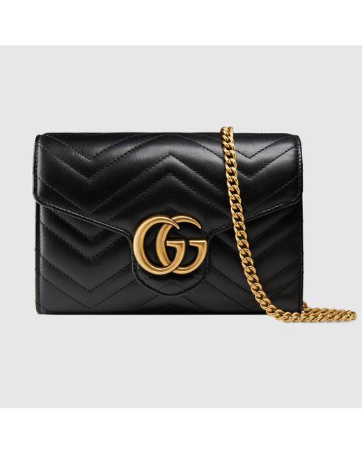 Gucci 【公式】 (グッチ)〔GGマーモント〕キルティング ミニバッグ ブラック レザーブラック Black
