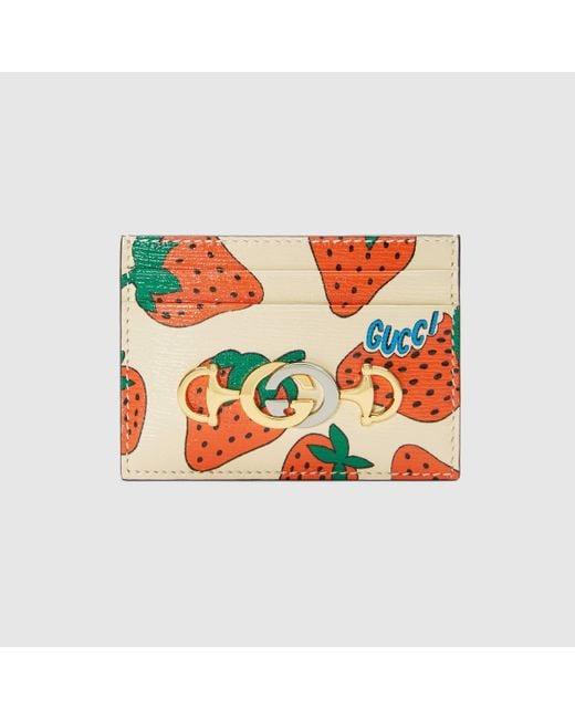 Gucci 〔グッチ ズゥミ〕 ストロベリー(いちご) プリント カードケース Multicolor