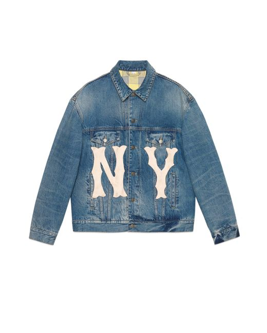 Gucci - Blue Men's Denim Jacket With Ny Yankees��� Patch for Men - Lyst