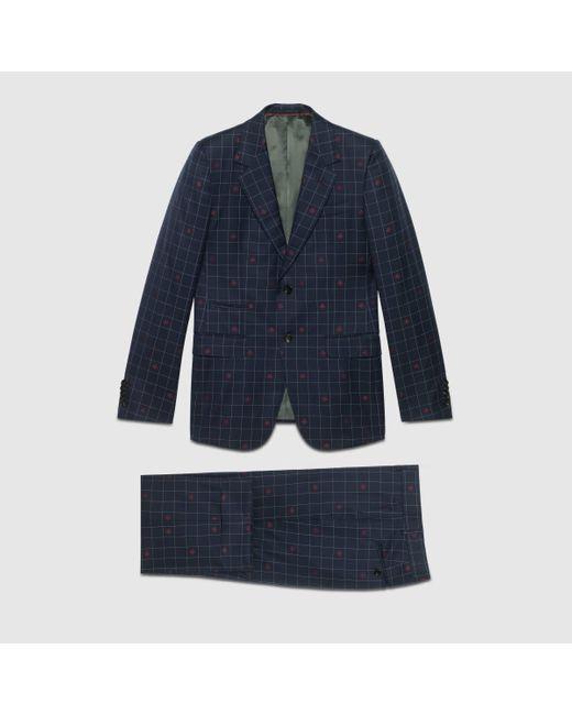 メンズ Gucci グッチ〔ニュー マルセイユ〕ビー(ハチ) チェックウール スーツ Blue