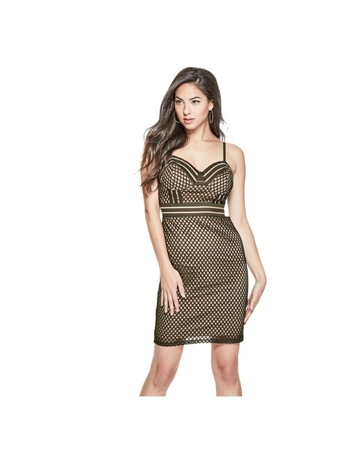 Guess lace contrast bodycon dress