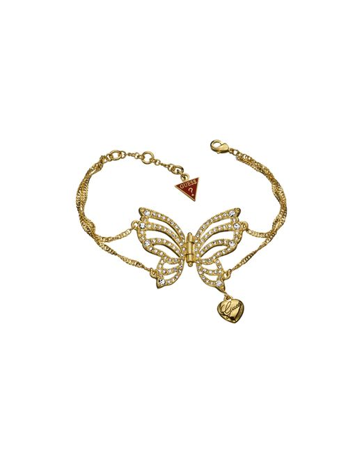 Guess | White Fly Girl Butterfly Gold-pleated Bracelet | Lyst
