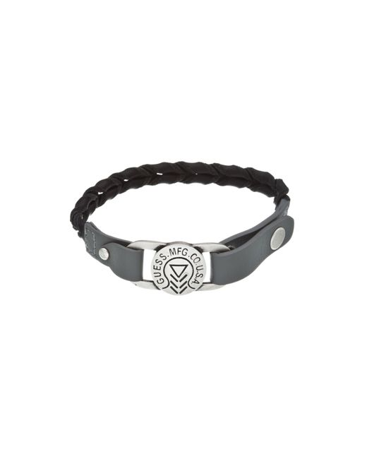 Guess | Black Two Tone Braid Leather Bracelet for Men | Lyst