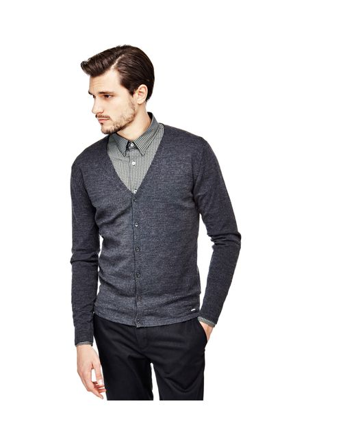 Guess | Gray Marciano Wool Cardigan for Men | Lyst
