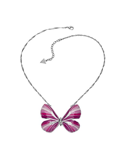 Guess | White Enamel Pink Butterfly Necklace | Lyst