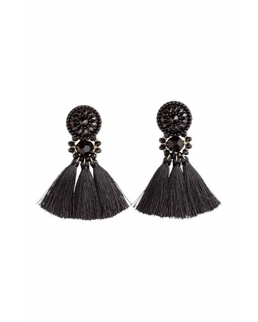 H&M | Black Earrings With Tassels | Lyst