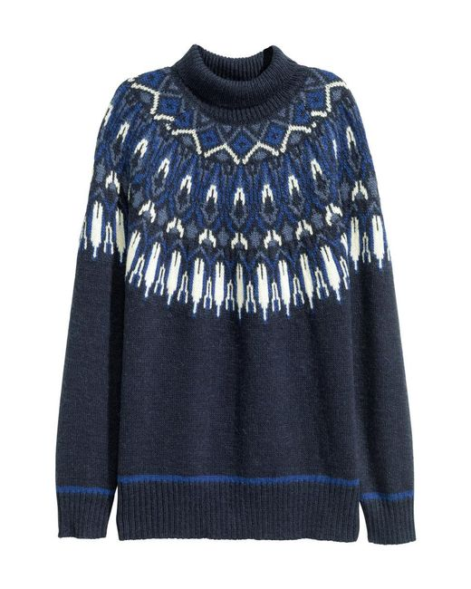 H&M | Blue Jacquard-knit Polo-neck Jumper | Lyst