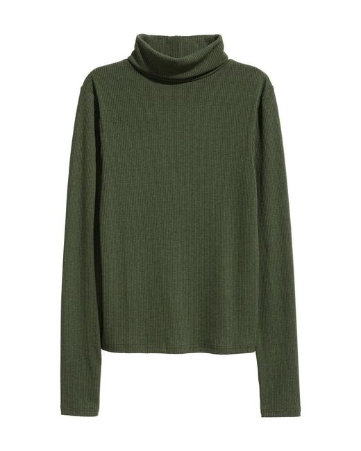 H&M | Green Ribbed Polo-neck Top | Lyst