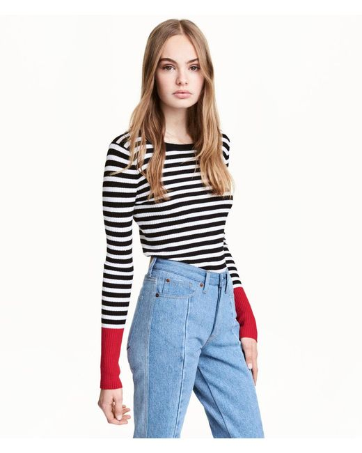 H&M | Black Rib-knit Jumper | Lyst