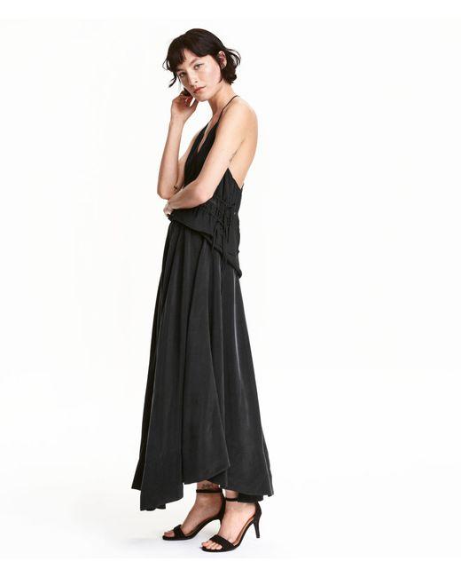 h m cupro maxi skirt in black lyst
