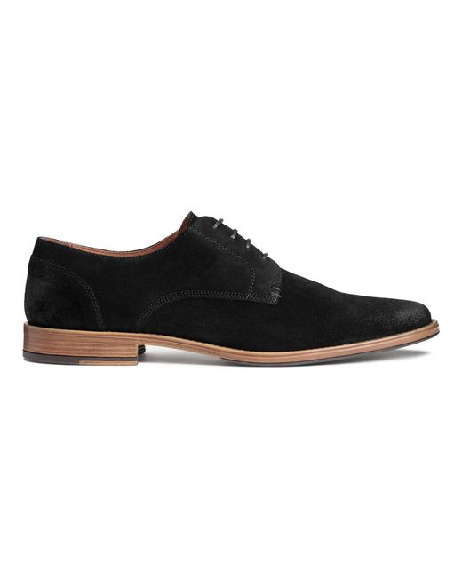 h m suede derby shoes in black for lyst