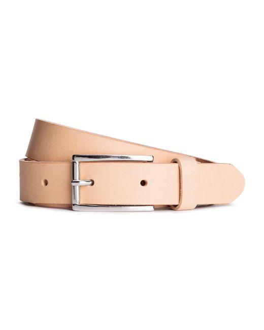 h m narrow leather belt in beige lyst