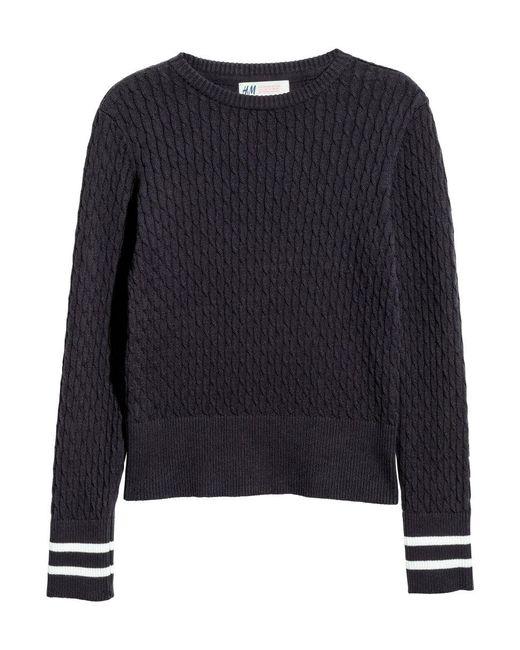 H&M | Blue Cable-knit Cotton Jumper | Lyst