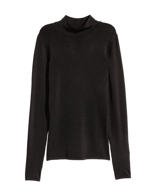 H&M   Black Polo-neck Top   Lyst