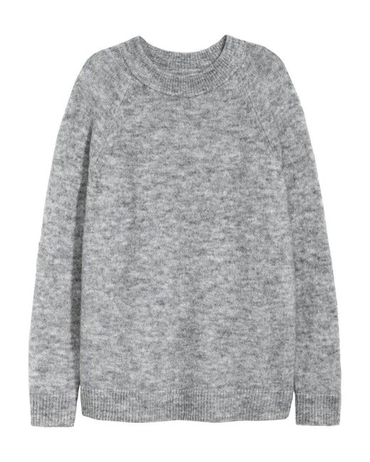 H&M | Gray Knitted Jumper | Lyst