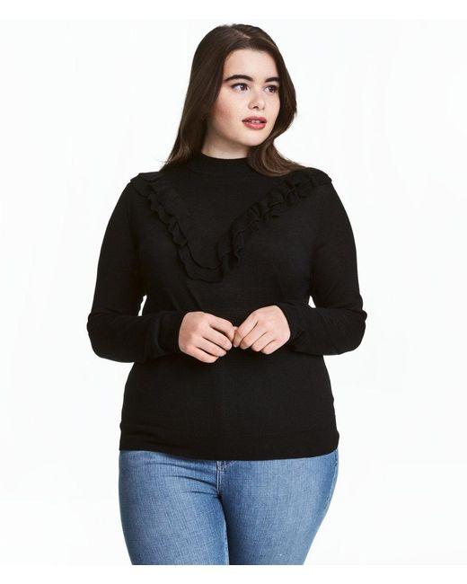 H&M   Black + Fine-knit Jumper   Lyst