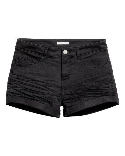 Hu0026m Twill Shorts in Black | Lyst