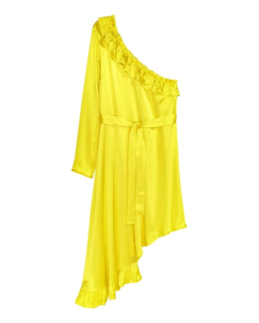 H&M - Yellow Asymmetric Flounced Dress - Lyst