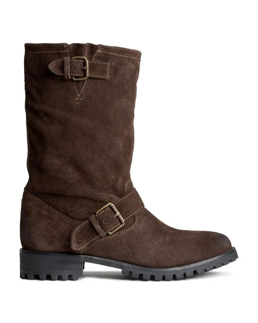 h m suede boots in brown lyst