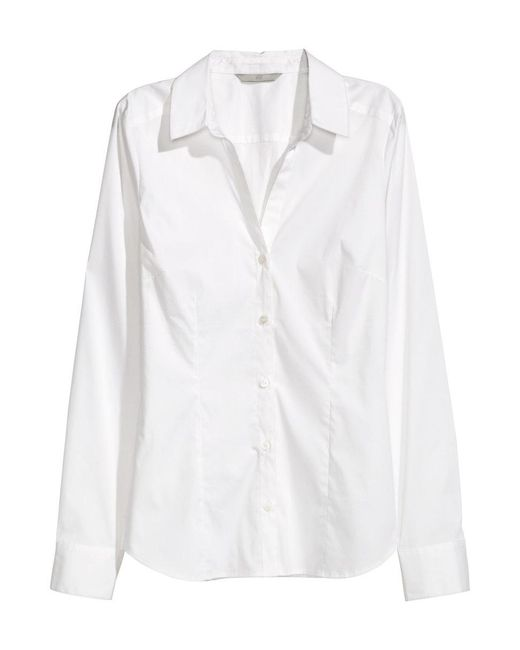 H&M | White Stretch Shirt | Lyst