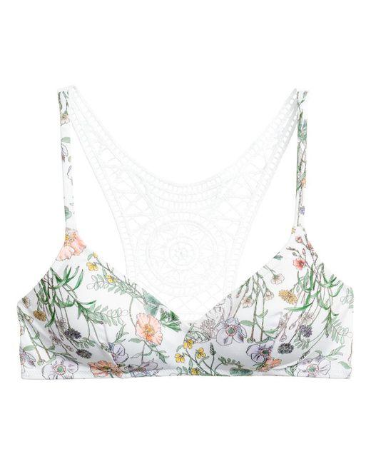 H&M | White Lace-back Bikini Top | Lyst