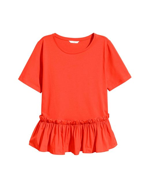 H&M | Red Flounced Top | Lyst