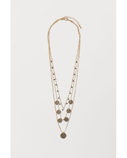 H&M - Metallic Three-strand Necklace - Lyst