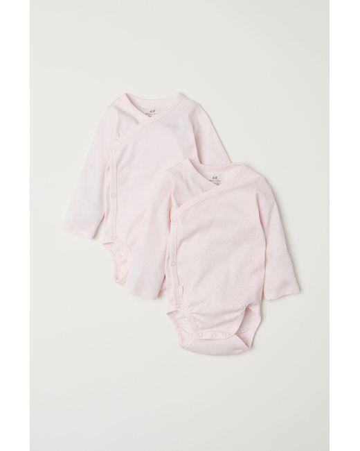 8bfce8ba0 H M 2-pack Long-sleeved Bodysuits in Pink - Lyst
