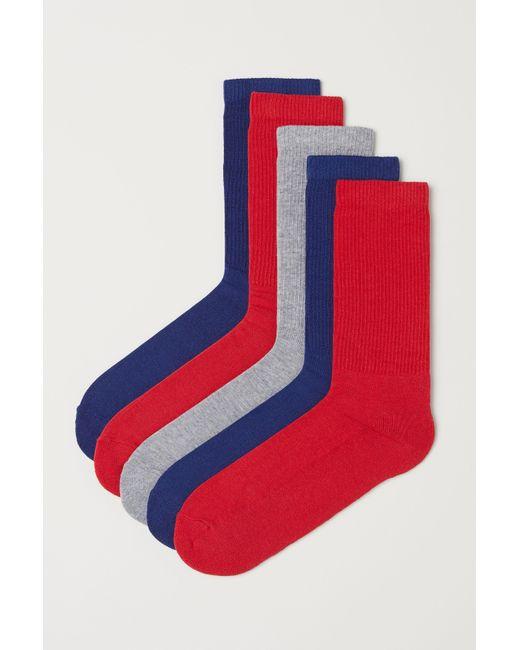 H&M - Blue 5-pack Socks for Men - Lyst