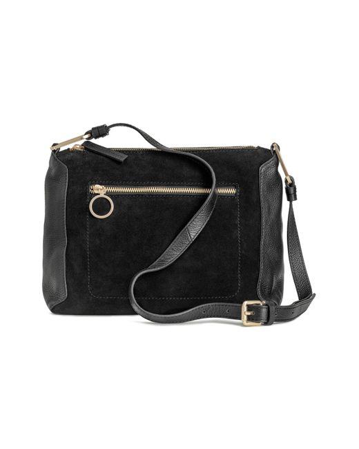 H&M - Black Suede And Leather Shoulder Bag - Lyst