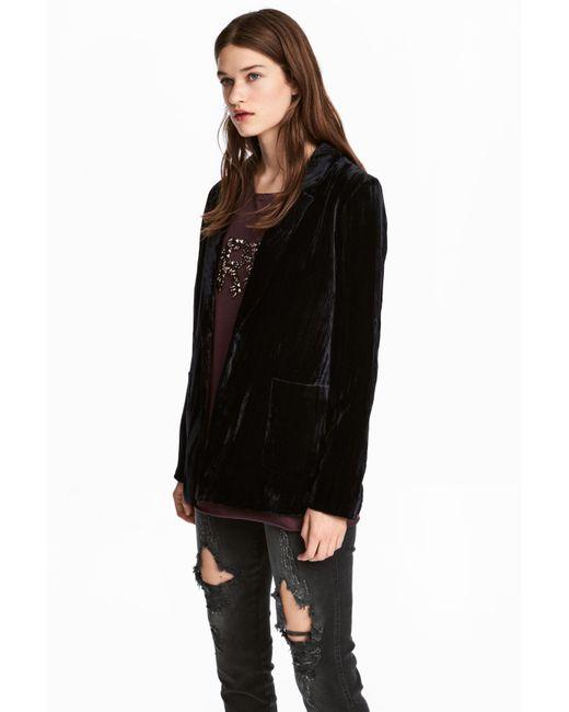 H&M   Black Velvet Jacket   Lyst