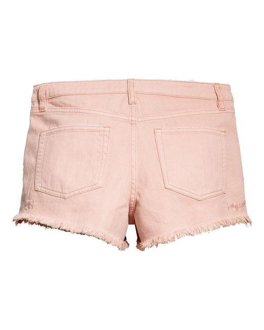 ... H&M | Pink Embroidered Denim Shorts ...