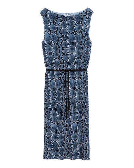 H&M | Blue Pleated Dress | Lyst