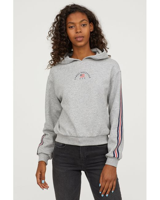 H&M - Gray Printed Hooded Sweatshirt - Lyst